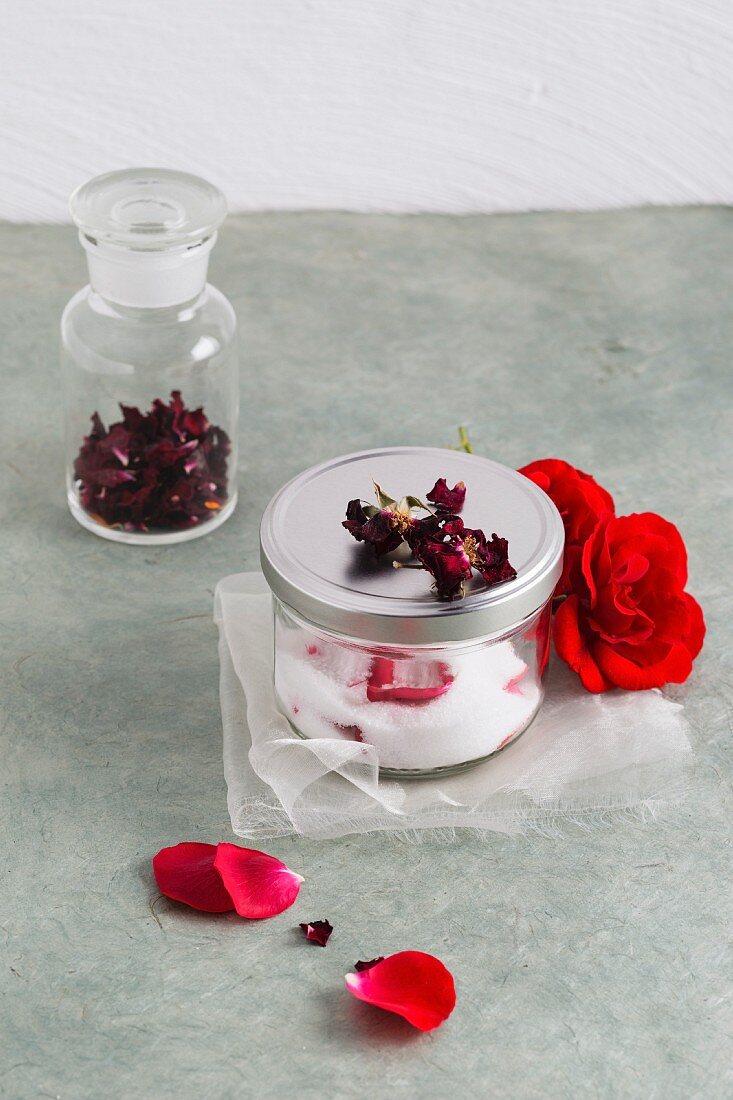 Rose sugar and dried rose petals