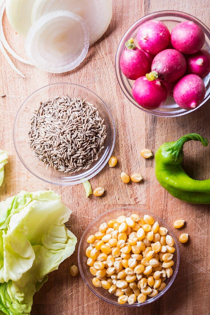 Ingredients for a salad with Truman, sweetcorn, radishes and green peppers