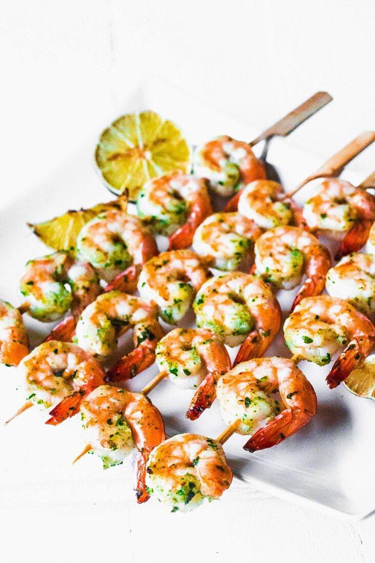 Grilled prawn skewers with herbs