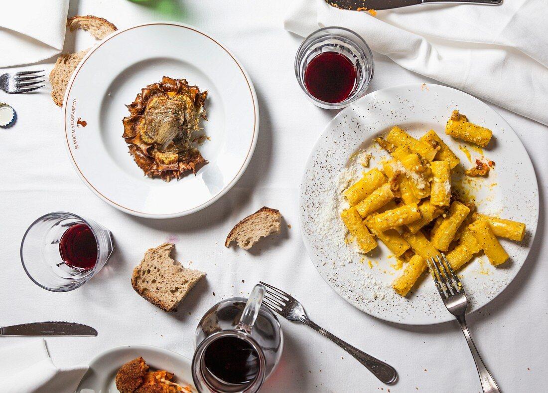 Rigatoni alla carbonara, typical pasta dish from Rome