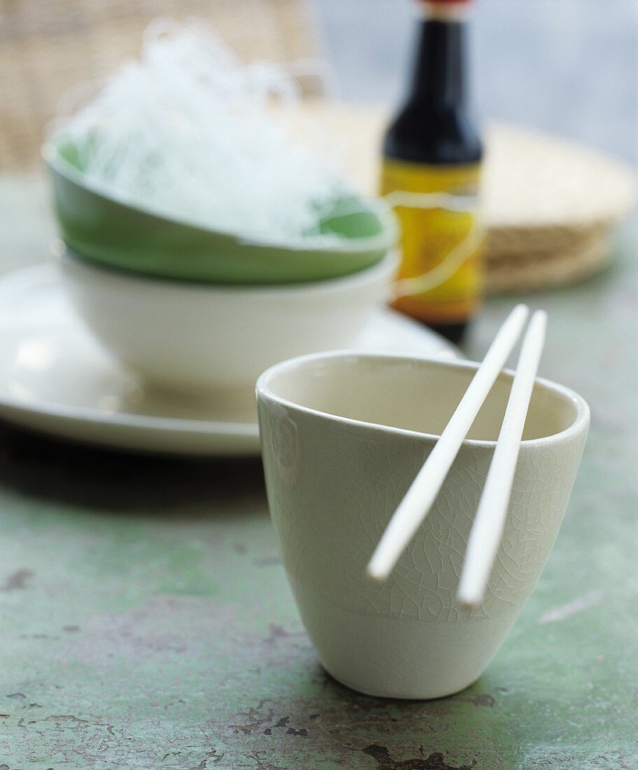 Asian bowl and chopsticks