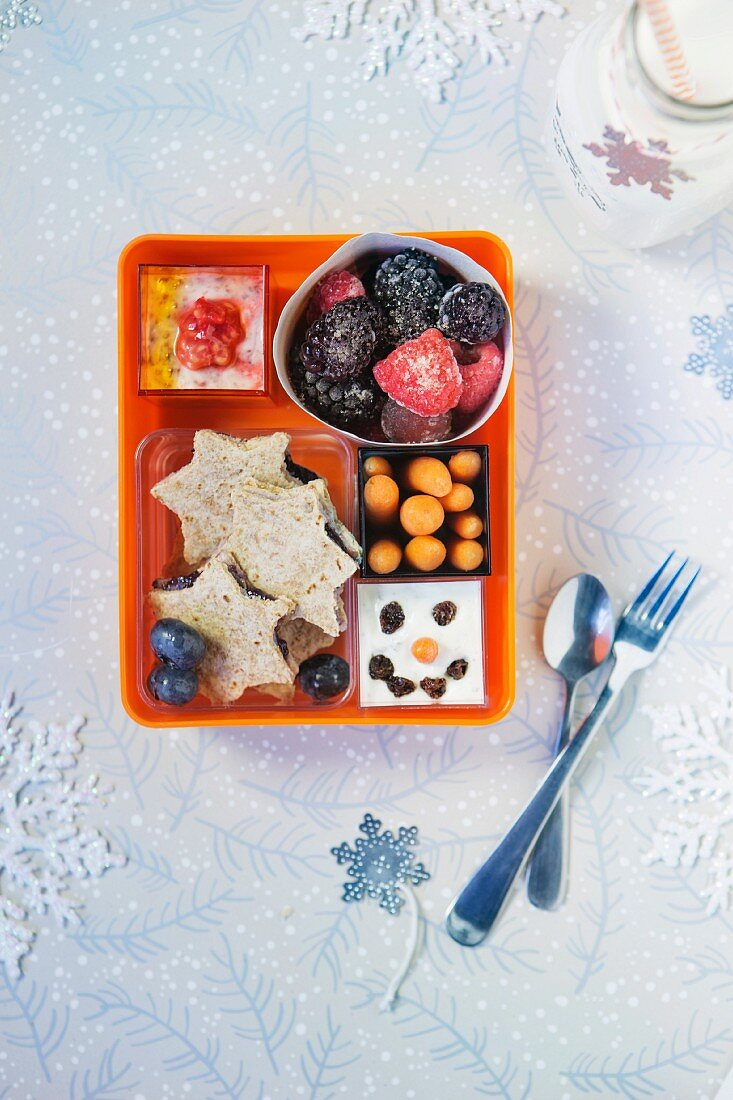 Various winter snacks in a plastic box