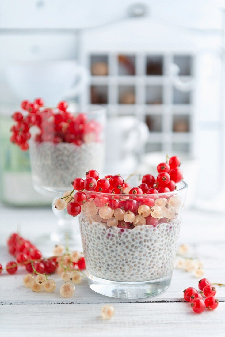 Chia pudding with redcurrants and whitecurrants