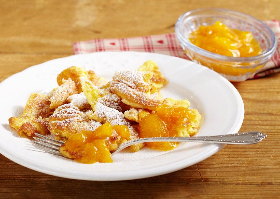 Kaiserschmarren (shredded sugared pancake from Austria) with apricot compote
