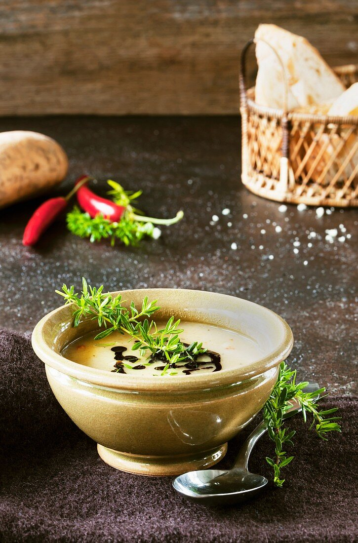 Sweet potato and coconut soup with chilli and cinnamon