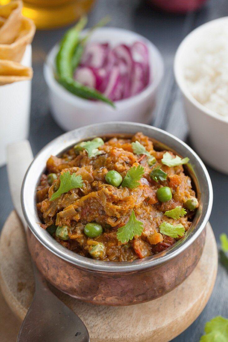 Baingan Bharta (aubergine dish with coriander, South Asia)