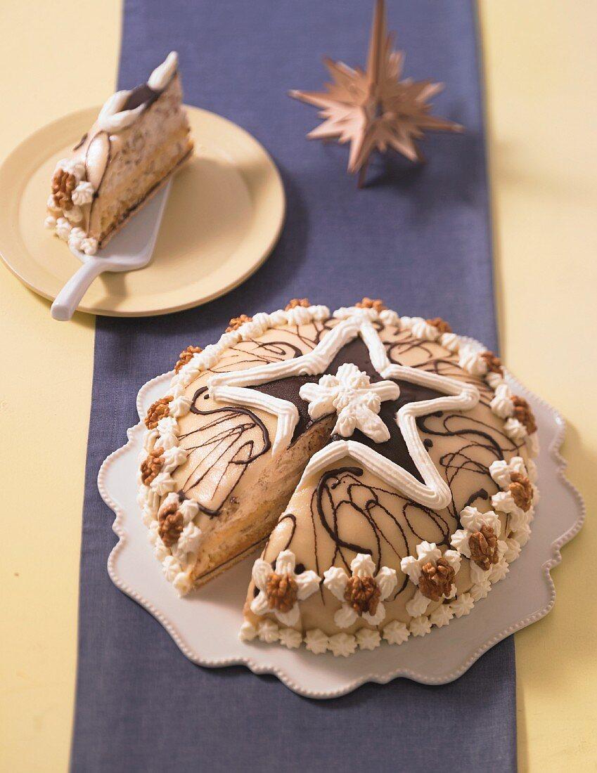 A festive marzipan and walnut cake, sliced