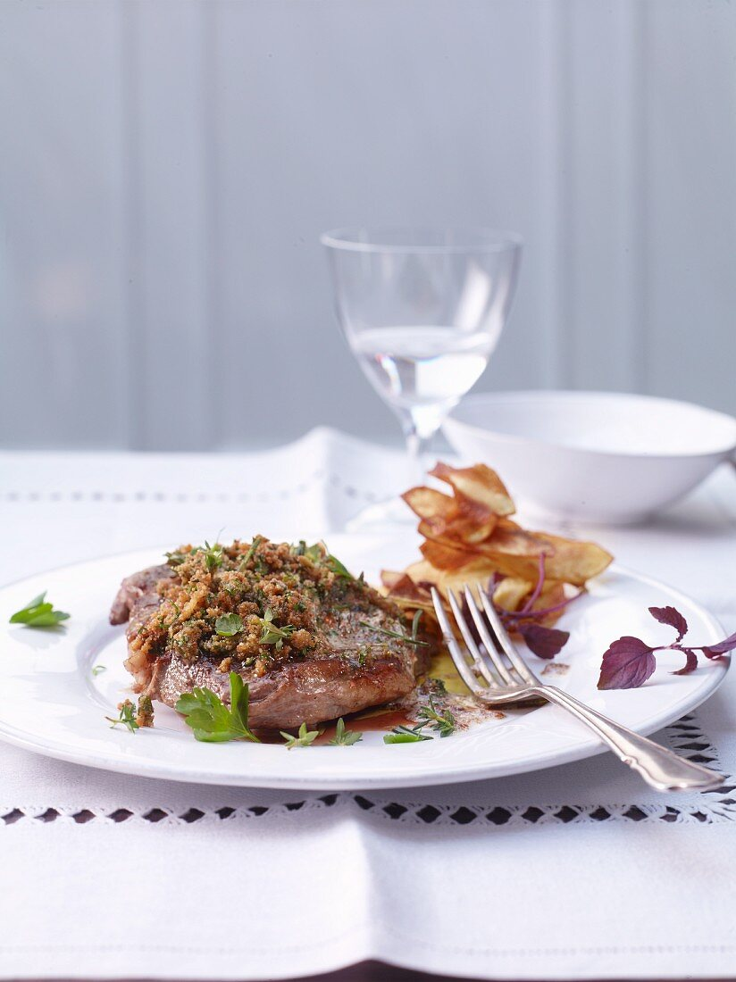 Entrecôte of Limburger meadow ox with a herb crust