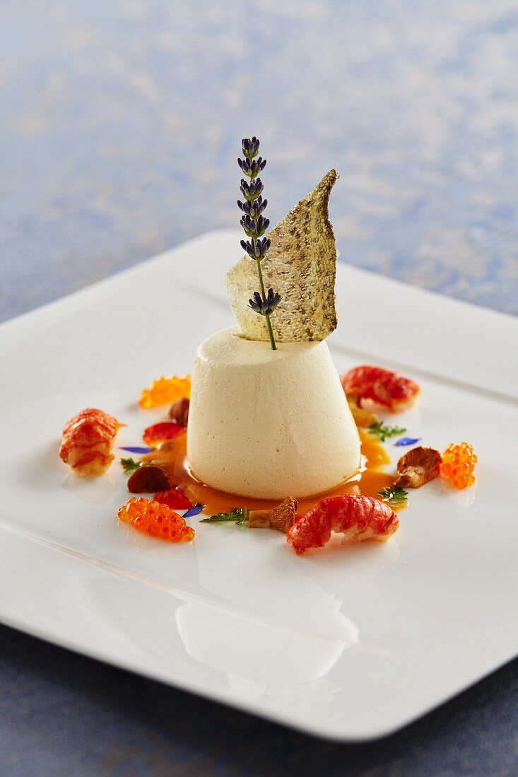 Trout panna cotta with crayfish and chanterelle mushrooms