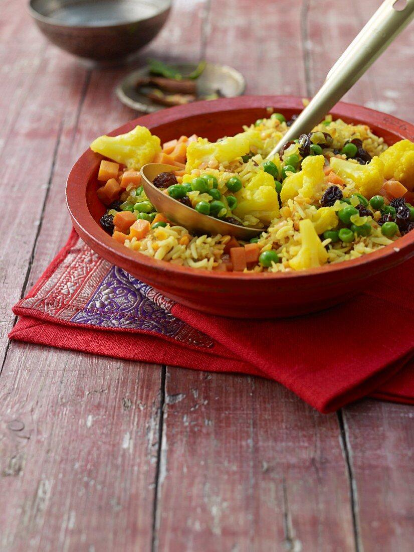 Biryani (Indian rice dish) with lentils and cauliflower