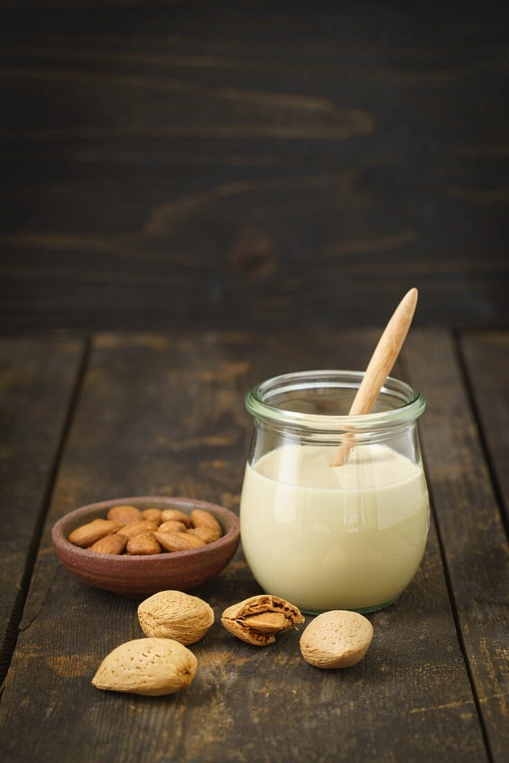 A jar of almond mousse