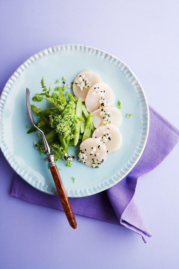 Scalloped tataki with an asparagus and mint salad and coconut chutney
