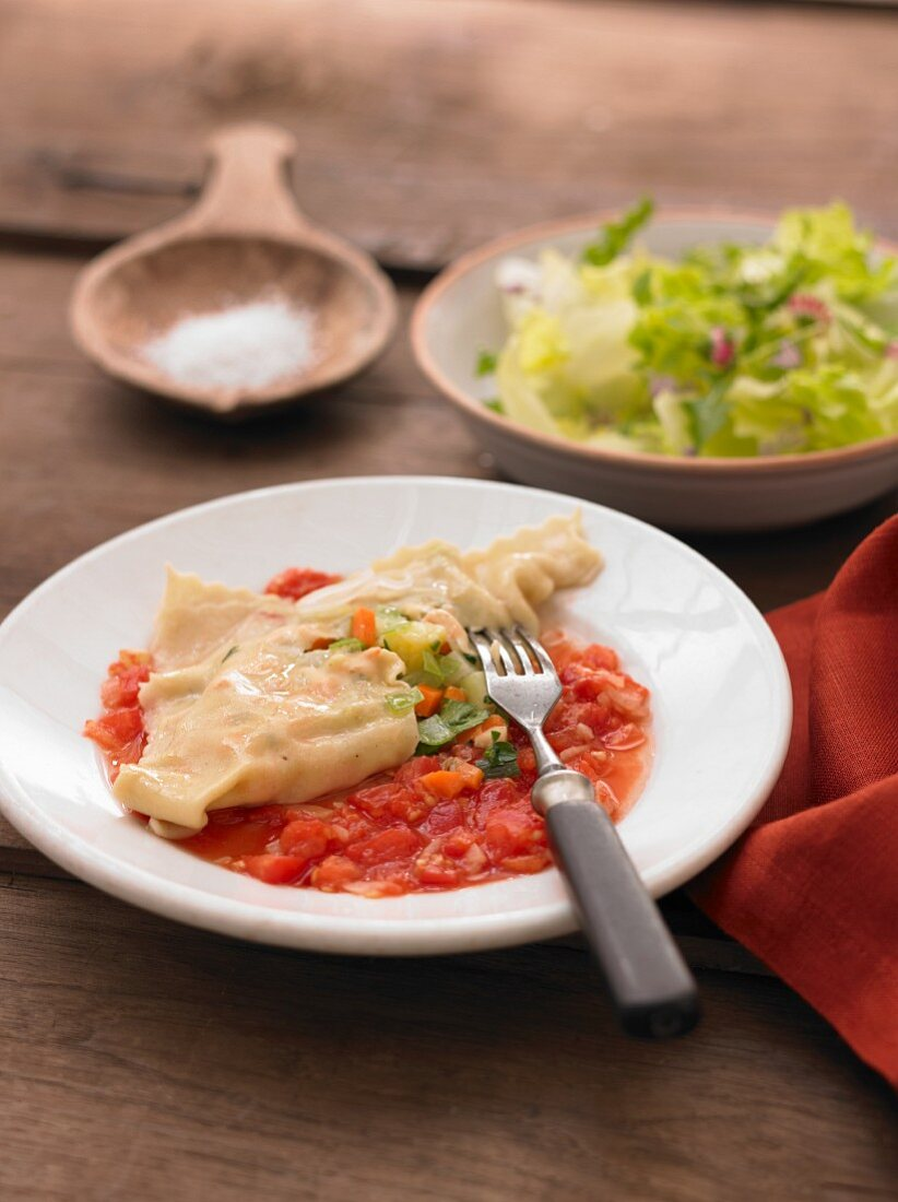 Maultaschen (Swaby ravioli) with tomato sauce