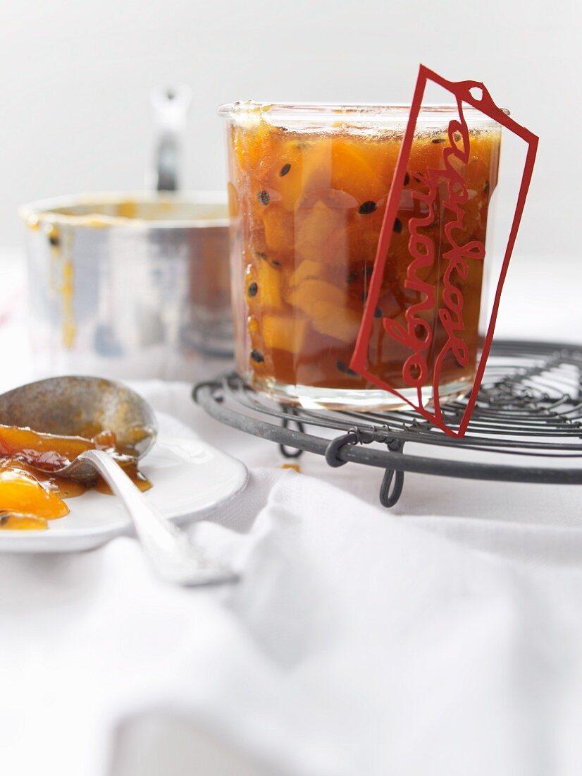 Homemade apricot and mango jam