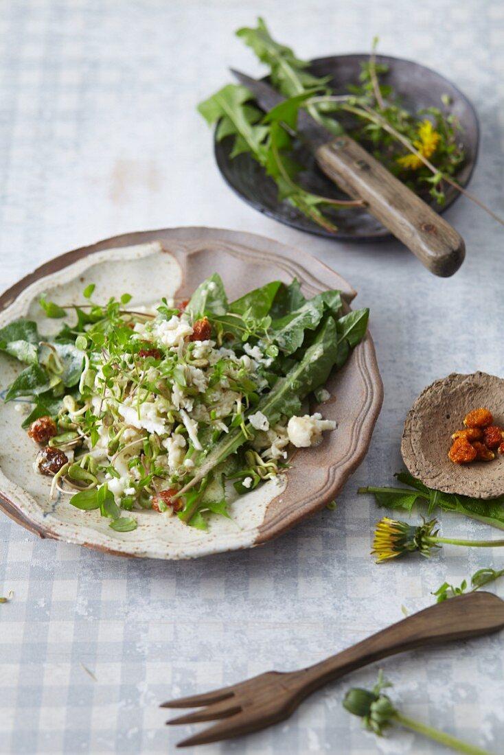 Vegan dandelion salad with cauliflower and dried physalis