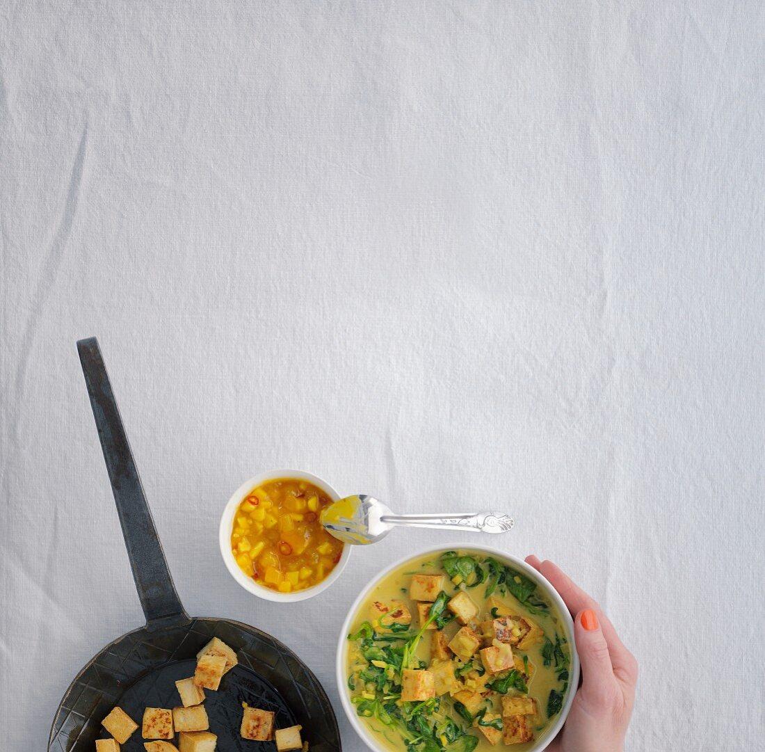 Indian palak tofu with mango chutney