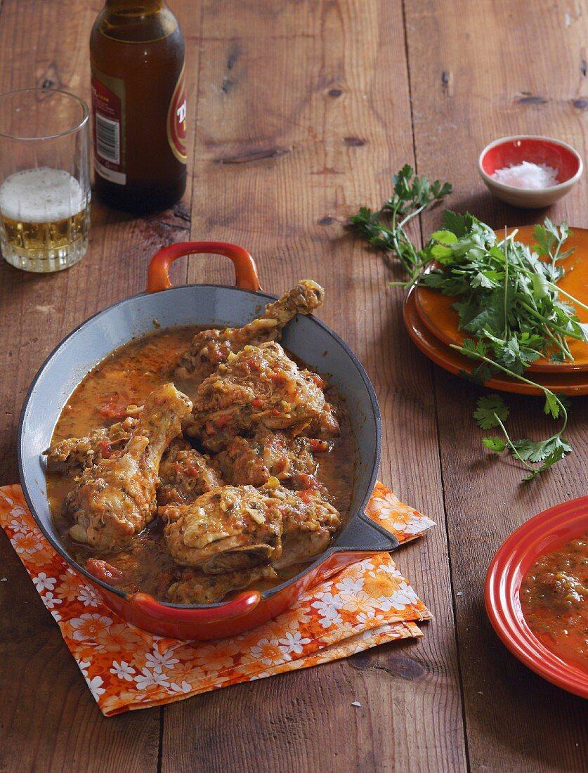 Fritada de gallina (chicken braised in beer and orange juice, Ecuador)