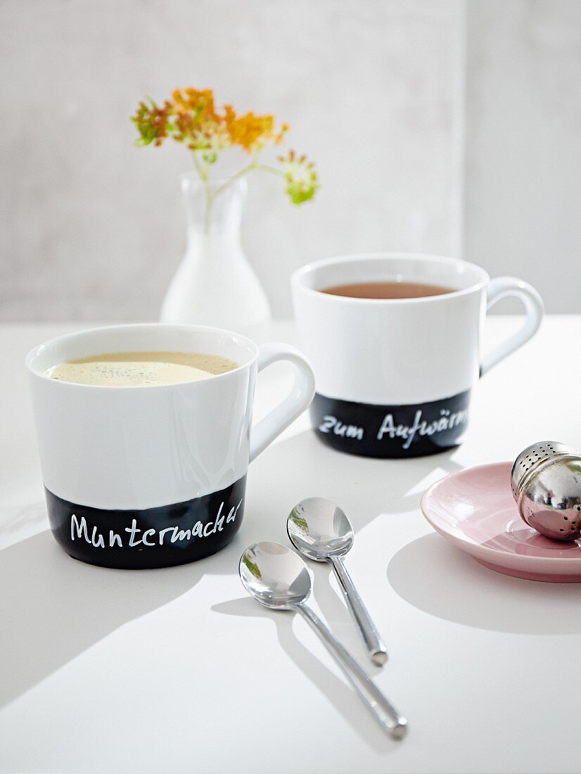 Mug painted with blackboard paint and inscribed