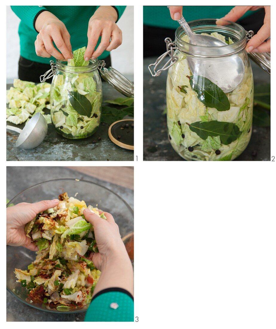 Savoy cabbage kimchi being made