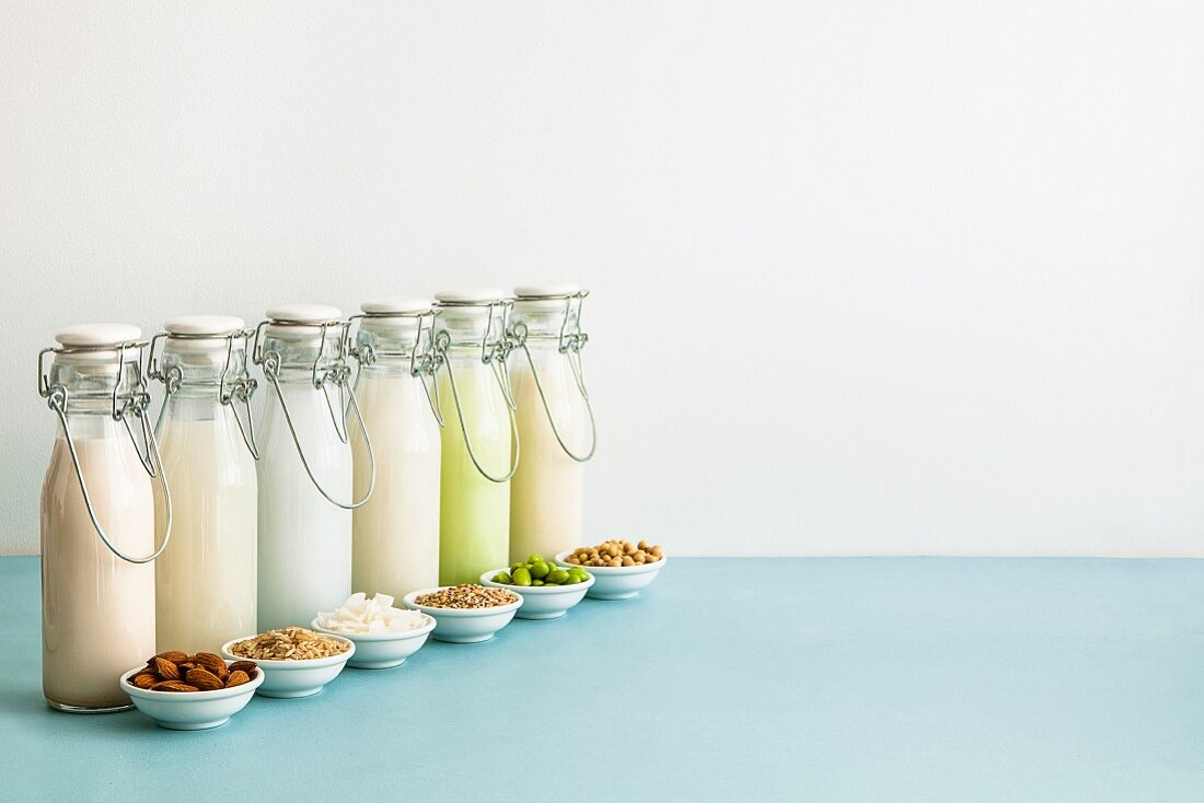 Various types of milk substitutes in bottles with their ingredients: almond milk, rice milk, coconut milk, oat milk, Edamame milk and soya milk
