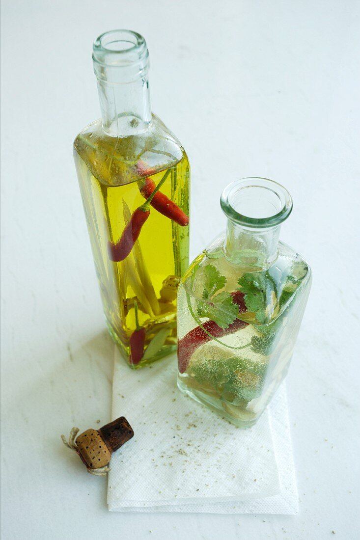 Ginger oil with lemongrass and ginger dressing with coriander and chilli