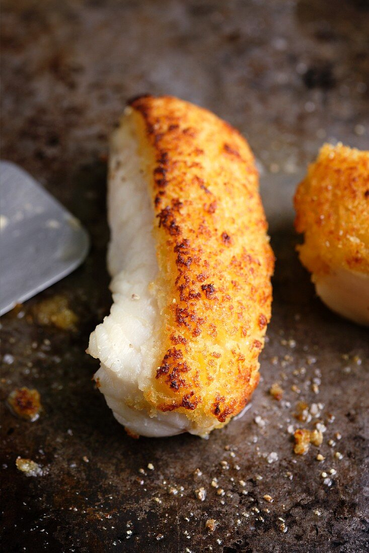 Oven-roasted monk fish with a ginger crust
