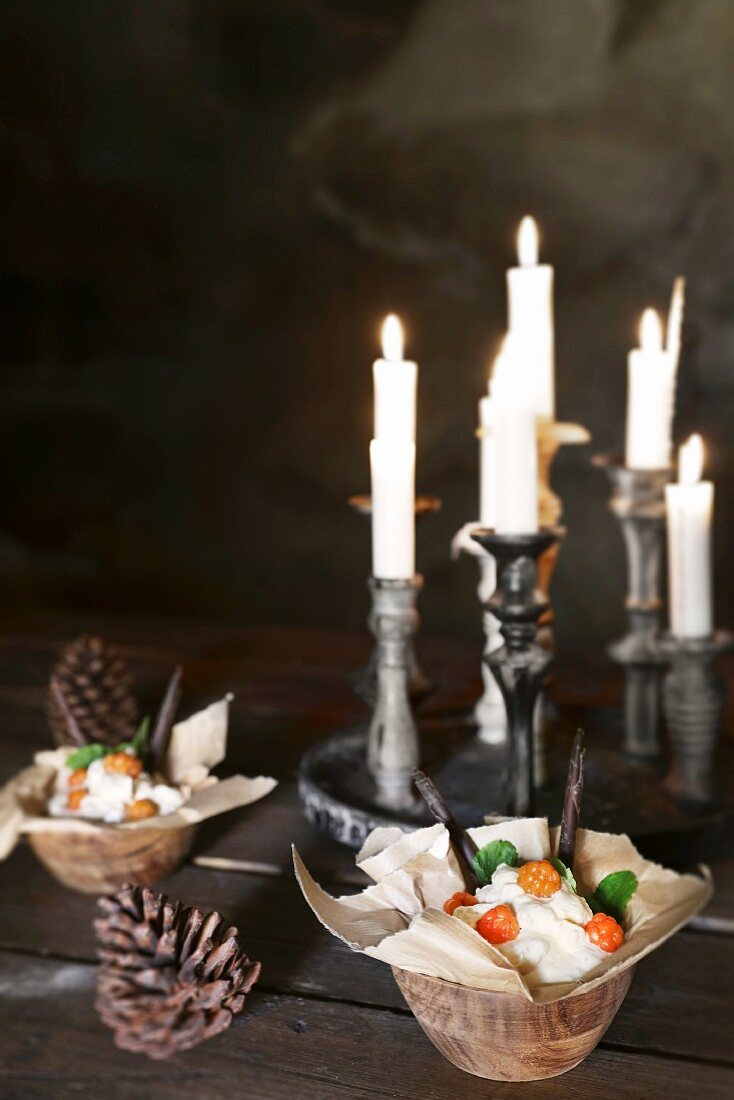 Christmas in a wine cellar: cloudberry cream with whipped cream