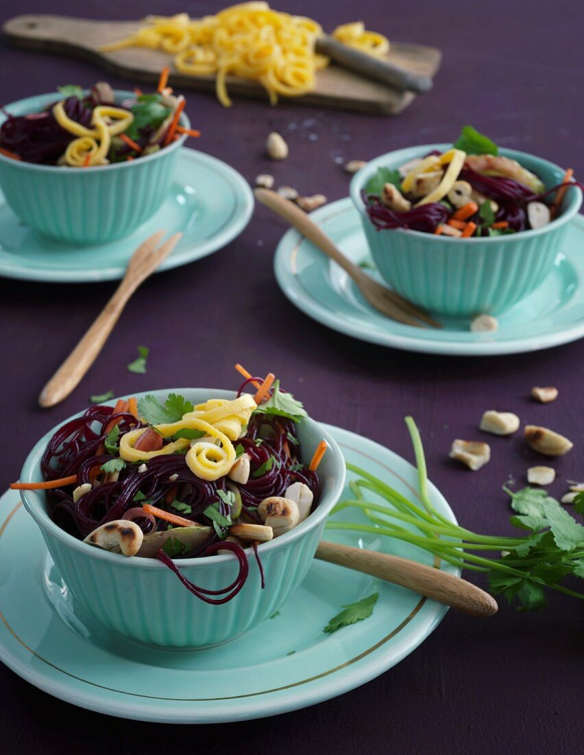 Winter beetroot and glass noodle salad with omelette strips