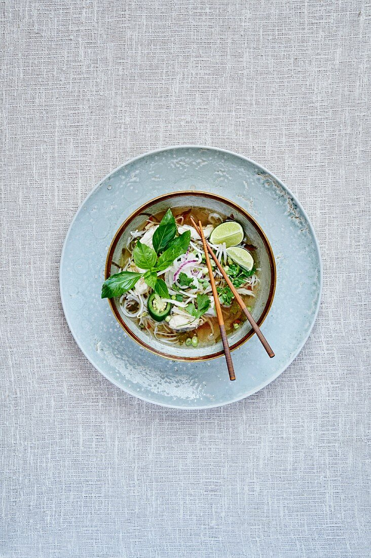 Pho Ga (rice noodle soup with chicken, coriander, bean sprouts, jalapeños and limes, Thailand)