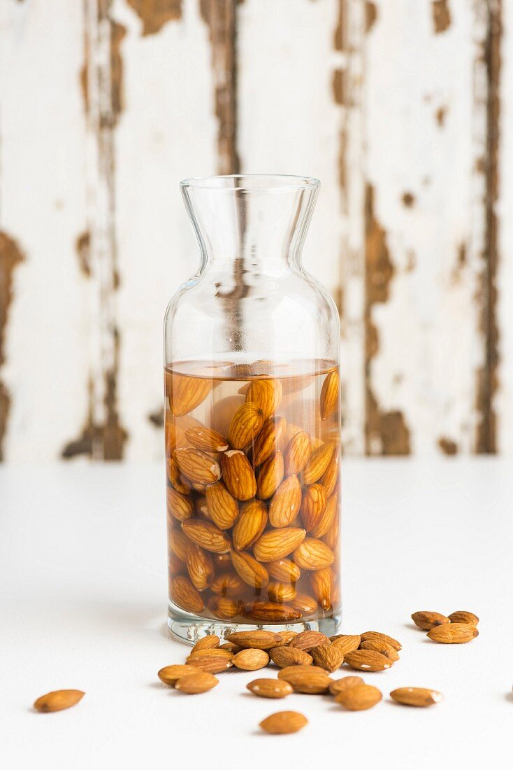 Almonds being softened to make almond milk