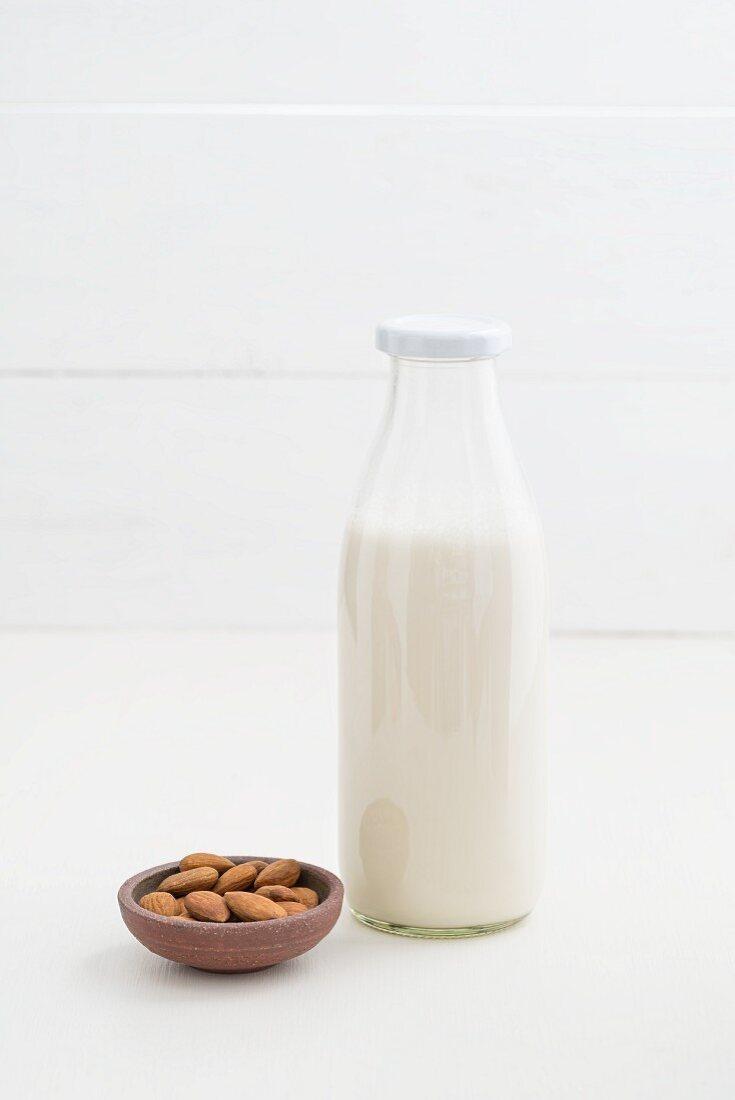 Almond milk in a glass bottle