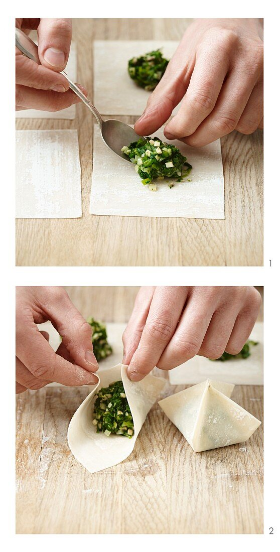 Vegetable-filled wontons being made (vegan)