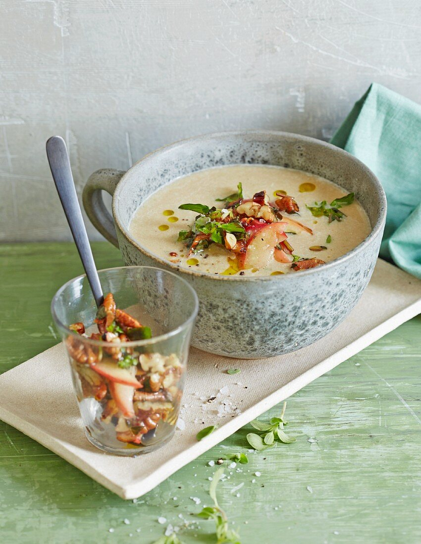 Autumnal chestnut soup with apples and nuts
