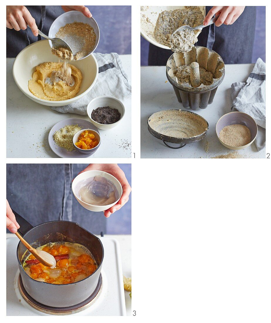 Poppyseed pudding with amaranth and physalis ragout being made