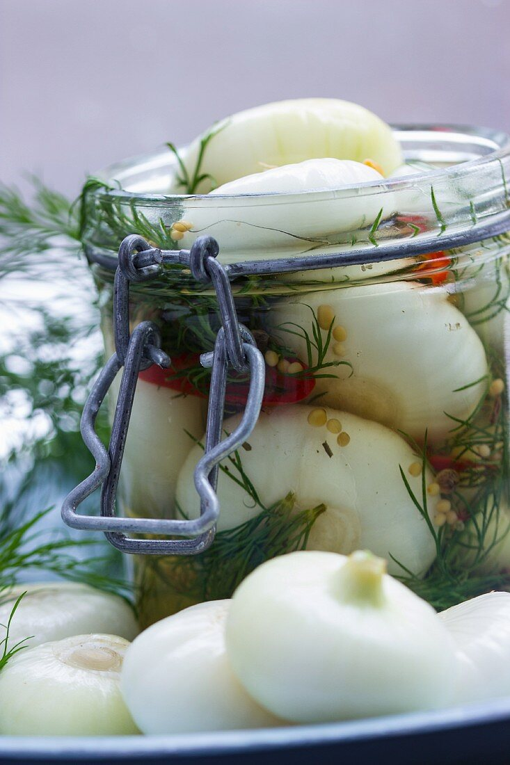 Borettane onions in white balsamic vinegar with fresh dill