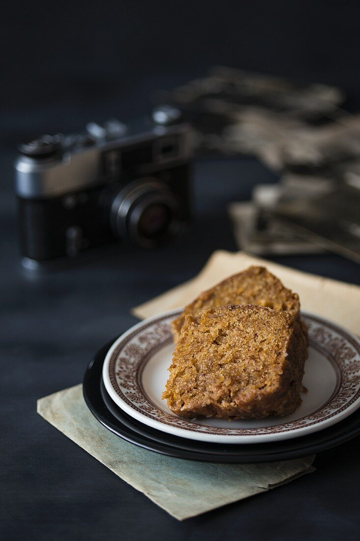 Two slice of courgette cake on a plate