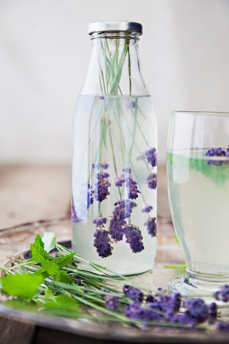 Gin and tonic with lavender flowers
