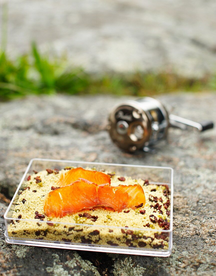 Couscous with dried cranberries and smoked salmon for camping