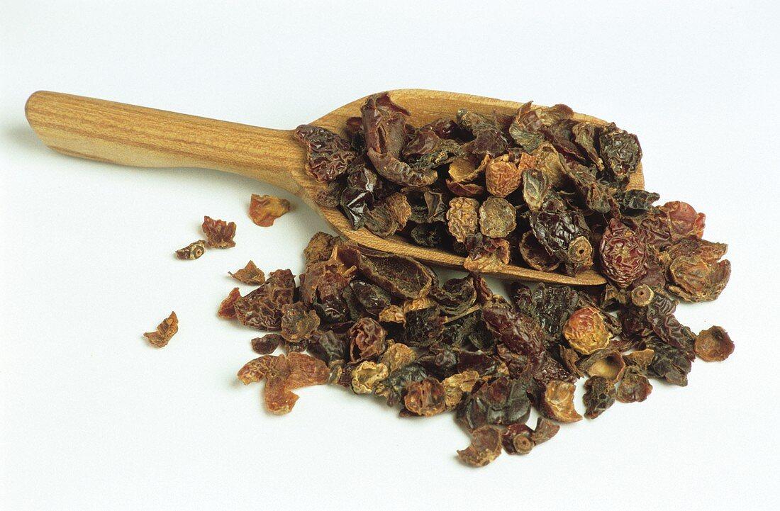 Rose hip skins for tea-making on scoop