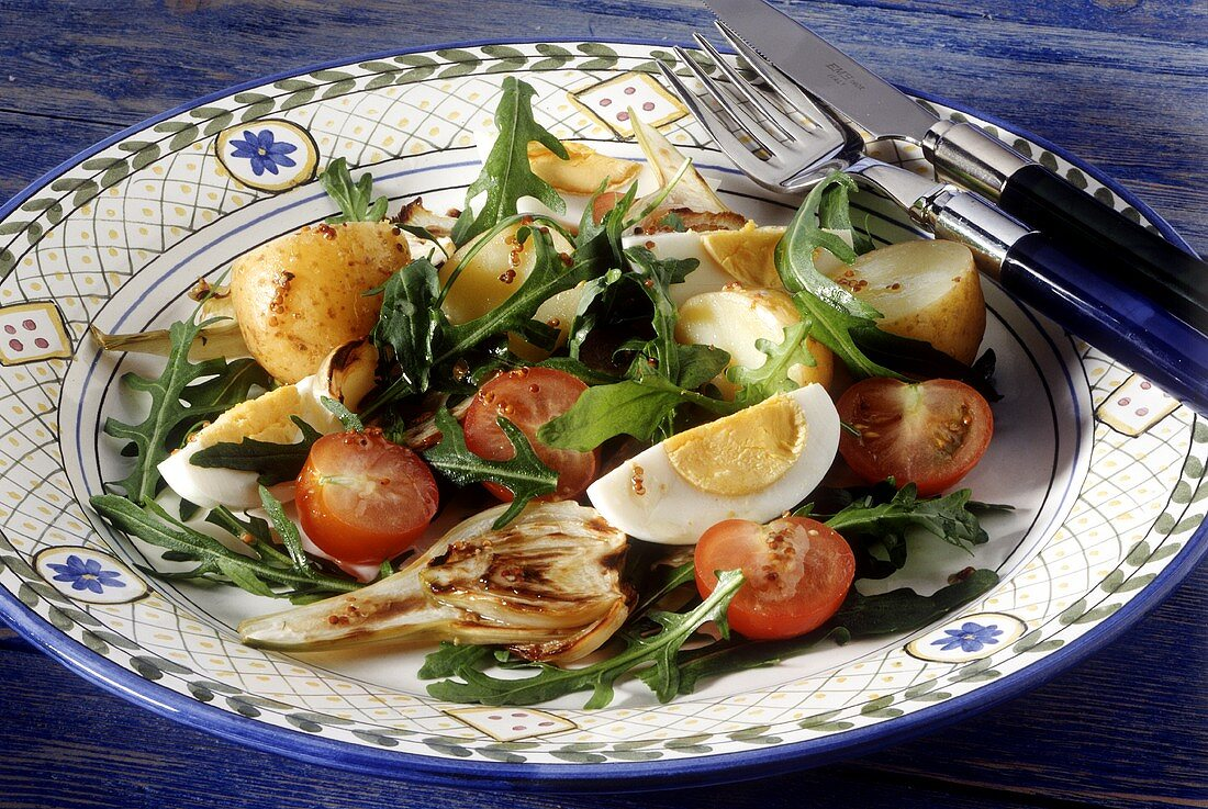 Grilled vegetables with rocket and mustard dressing