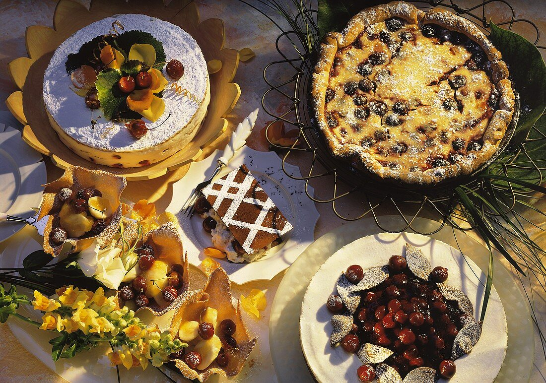 Cakes, gateaux & pastries with cherries