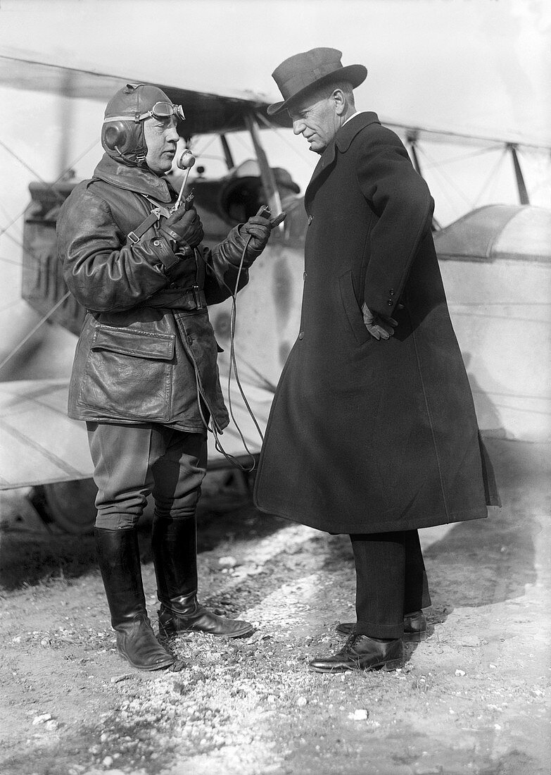 Culver with early aeroplane radio,1918