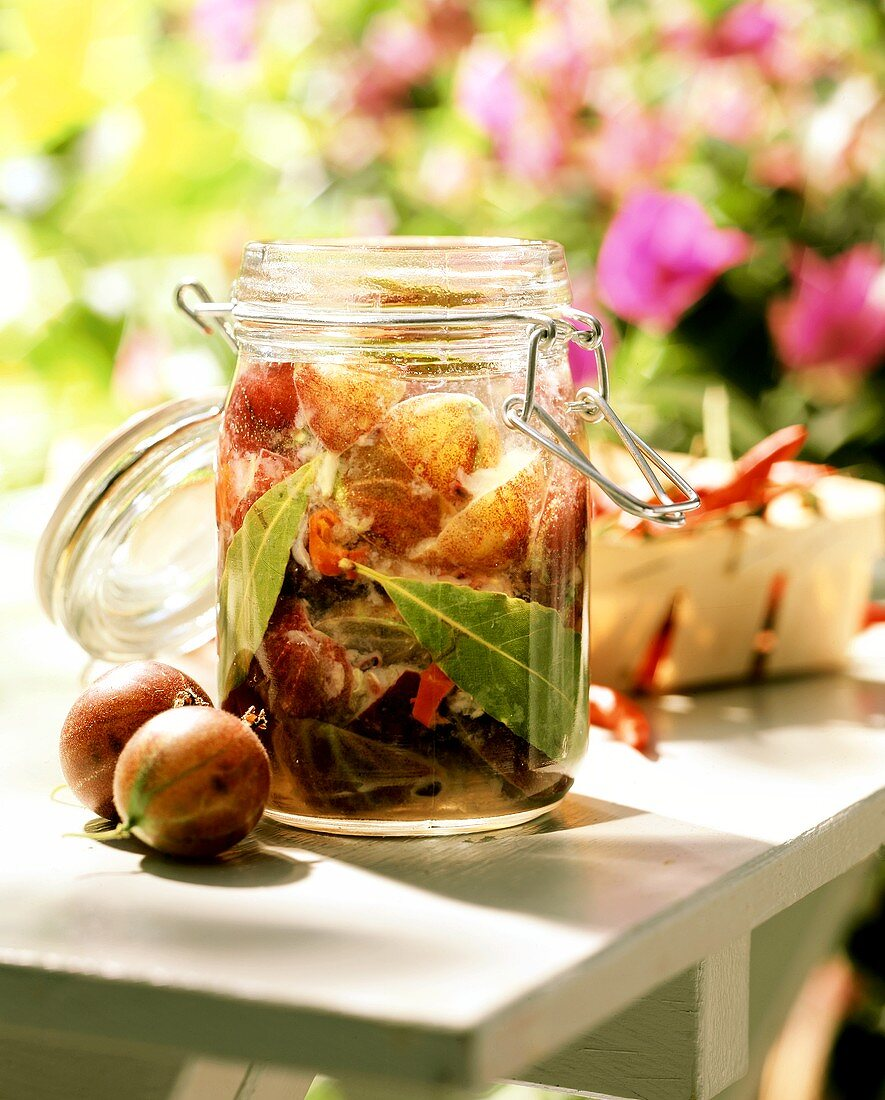 Gooseberry chutney in an open preserving jar