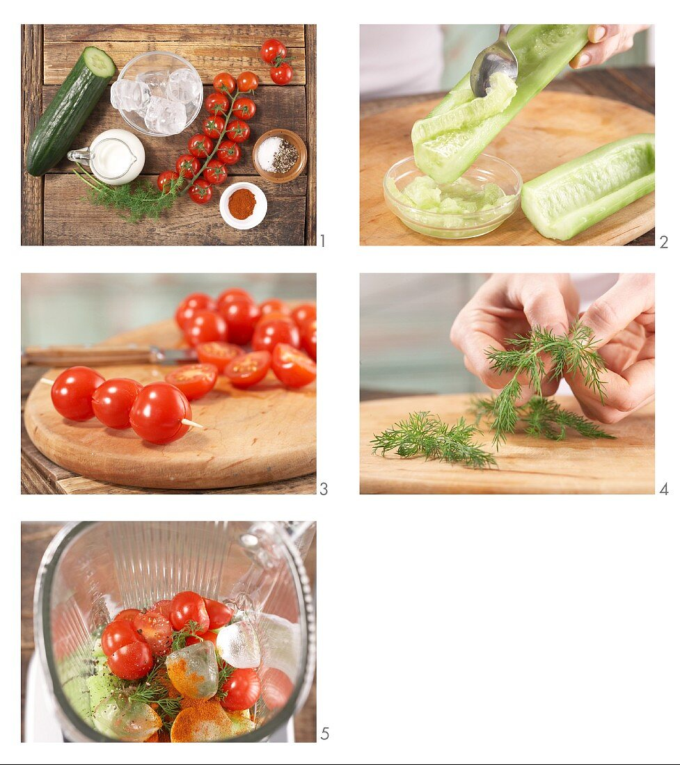 How to prepare tomato and cucumber smoothie with kefir