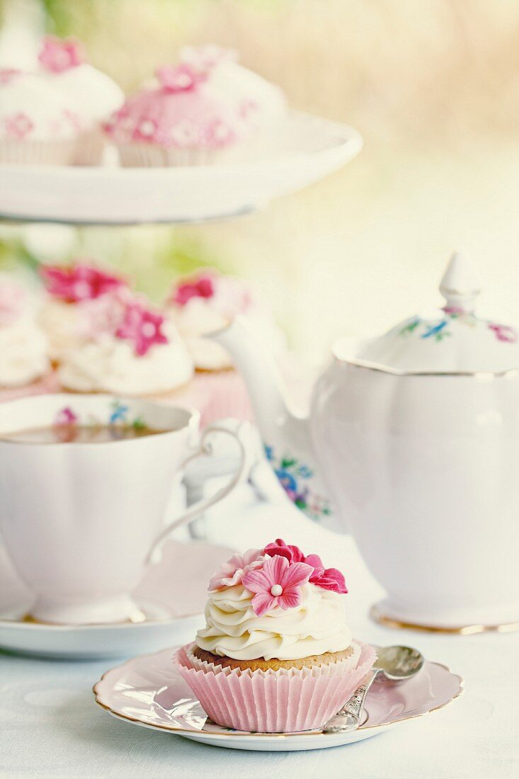 Afternoon tea served with cupcakes