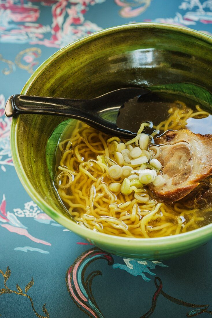 Japanese ranch-style ramen soup with braised pork