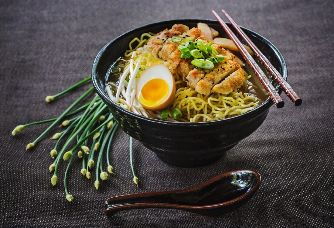 Japanese tonkotsu ramen soup with fried pork