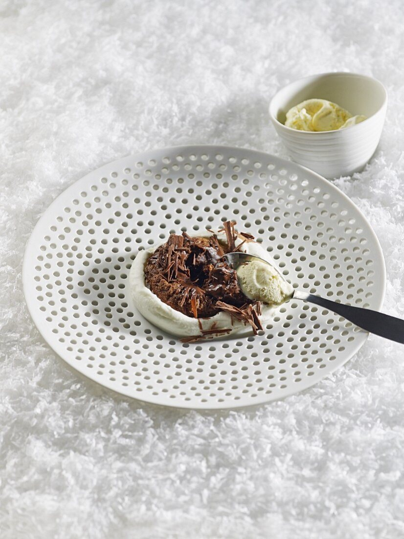 A small chocolate cake with a liquid centre for Christmas