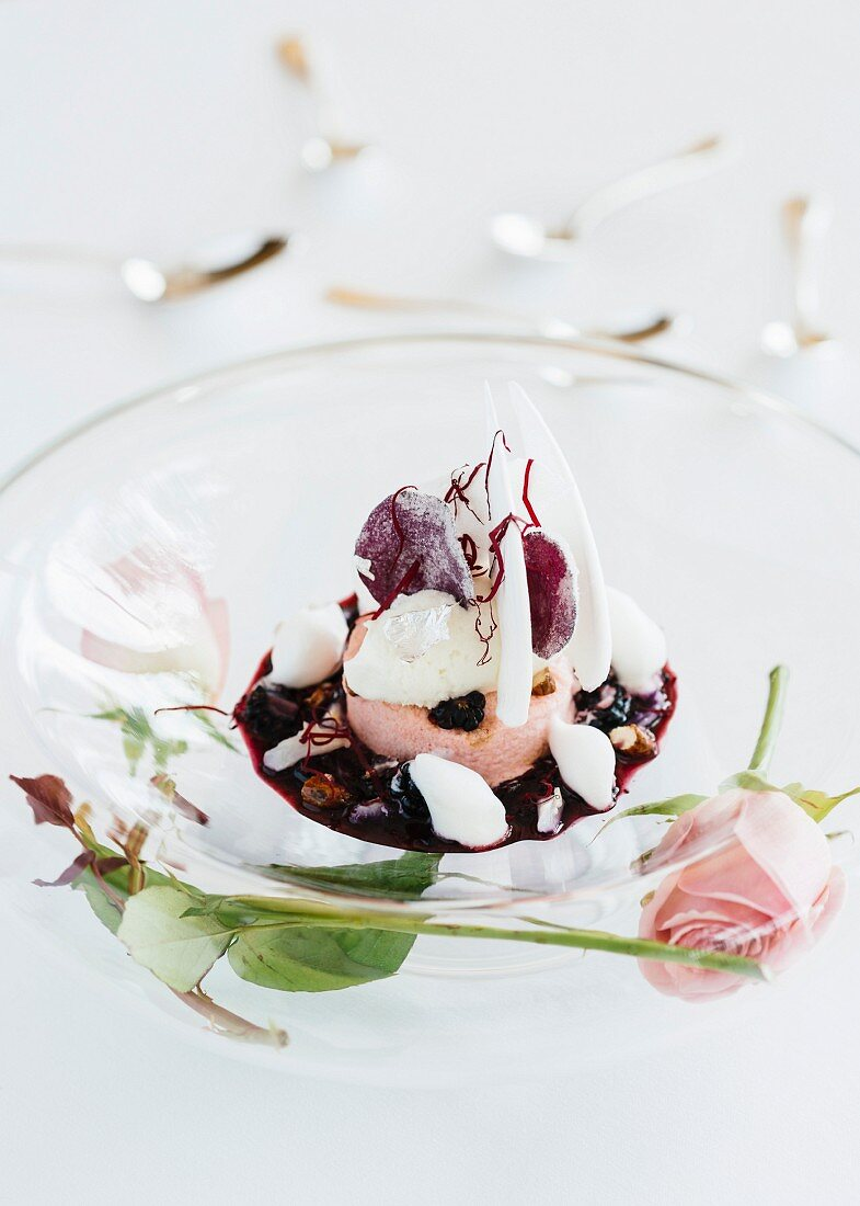 A white nougat dessert made by the head chef Arnaud Donckele at the La Vague d'Or restaurant in Saint-Tropez
