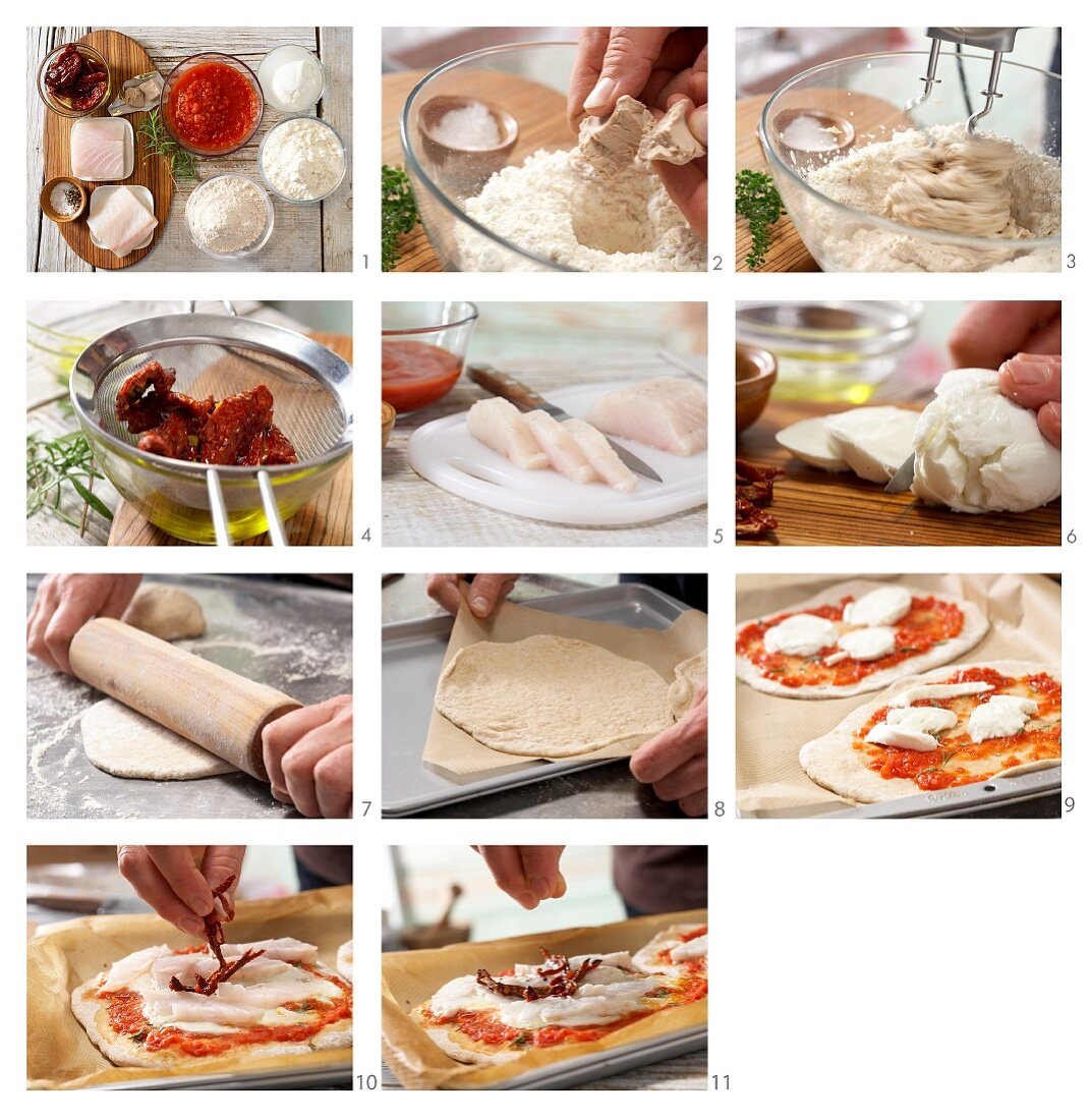 How to prepare mini spelt pizzas with pike-perch fillet and tomato strips